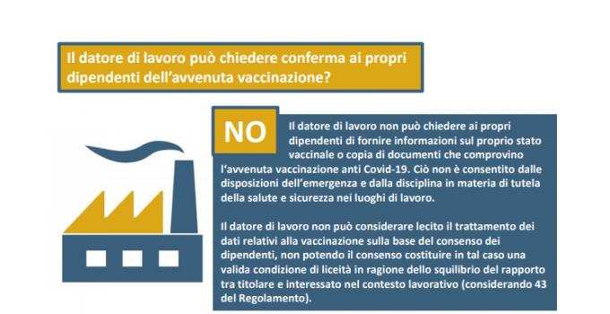 Vaccinazione dipendente, le faq del garante privacy